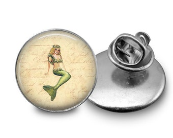 Vintage Mermaid Tie Tack or Lapel Pin - Men's