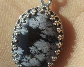 Snowflake Obsidian and Sterling Silver pendant necklace