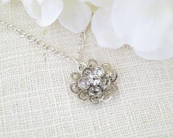 Crystal pendant necklace, Swarovski crystal flower necklace, Antique sterling silver necklace, Simple bridal necklace, Vintage wedding