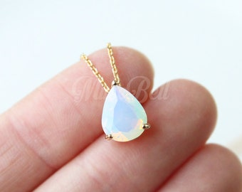 Dainty opal teardrop necklace, White opal necklace, Bridesmaid gift, Opal wedding jewelry, Bridal opal jewelry, White opal stone necklace