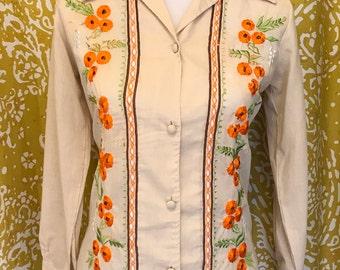 Orange poppy embroidered button down