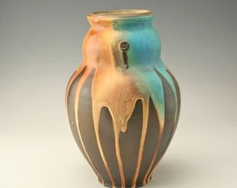 pottery vase with turquoise and orange drip glaze , ceramic vase, flower vase, decorative vase, contemporary vase, handmade, potterybyshikha