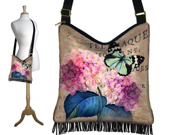 Hydrangea Floral Crossbody Hobo Bag, Sling Bag Hippie Fringe Purse, Slouch Bag, Butterfly, Paris Post Card, Victorian, zipper, pockets  RTS
