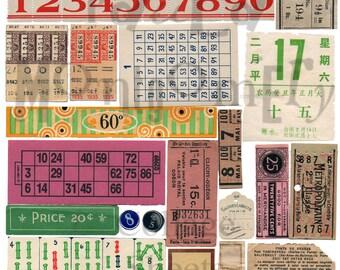 Vintage Numbers Digital Download Collage Sheet