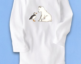 Cute Baby bodysuit, Unique baby clothes, Winter baby clothes, Bbay one piece, Puffin bird, Baby Polar Bear, Polar Bear baby, baby gift