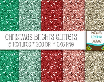 SALE - Digital Glitter Textures - Scrapbooking Cards Invitations - Printable Paper Pack - Christmas Brights - Green Red Pink Cream - CU OK
