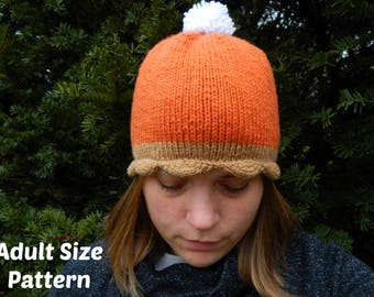 Pumpkin Pie Hat Knitting Pattern  :  Adult Size Hat, Knitting Gifts, DIY Gifts, Holiday Hat