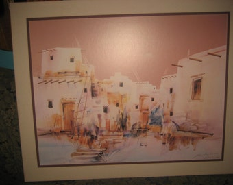 Jim Prindiville Signed, Matted, Native American Painting PRINT/Pueblo Art, no Frame