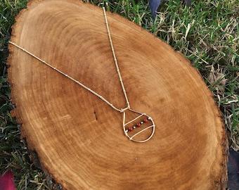 Simple Elegant Beaded Tear Drop Pendant Necklace