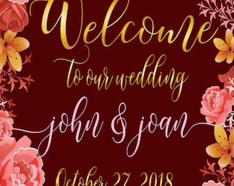 welcome to our wedding, printable welcome to our wedding, vintage printable welcome to our wedding, custom welcome to our wedding
