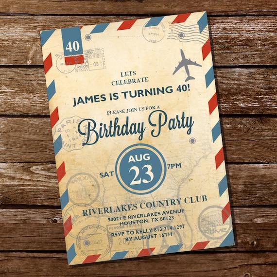 Vintage Travel Invitation Travel Invite 30th 40th 50th