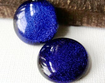 Dichroic Glass Cabochons 22 mm Purple Set of 2