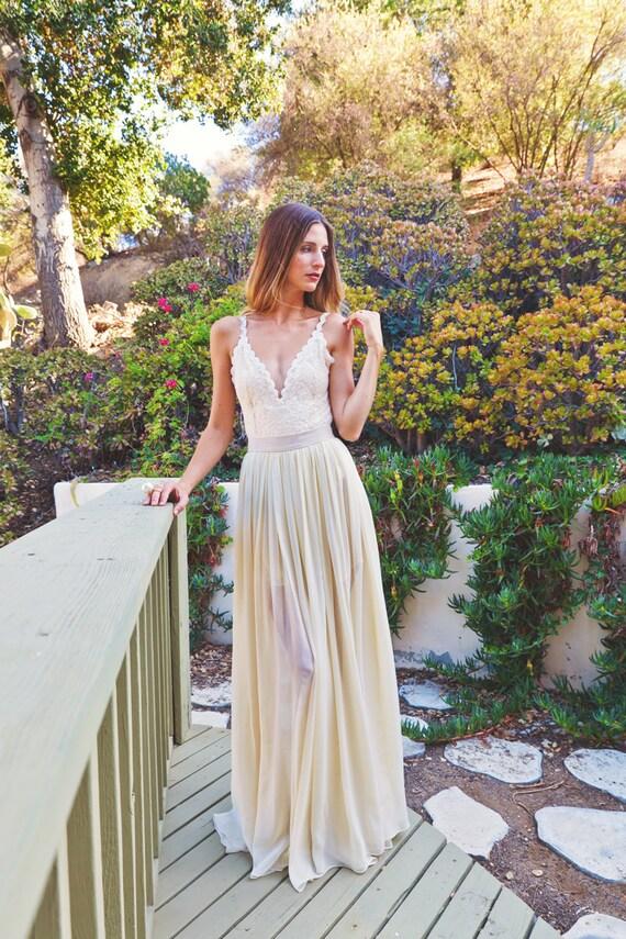 2-PIECE Lace Backless Wedding Dress. DREAMY SILK chiffon skirt
