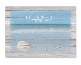 Beach Vacation Print; Best Vacation Ever; Personalized Vacation Keepsake; Vacation Gifts; Travel Wall Decor; Custom Travel Souvenir;