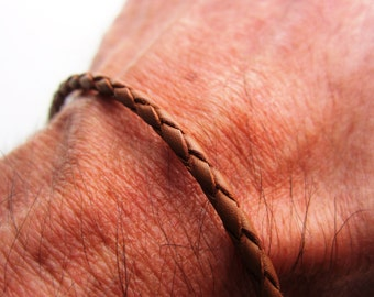 Braided Leather Bolo Bracelet - Antiqued Pure Sterling Silver Clasp/Ends - Mens/Womens - Tan 3mm - simple/basic