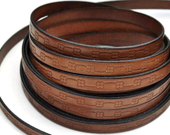 10MM Floral Loop Embossed Leather Cord - Deep Cognac/Black - High Quality Leather Cord - Qty. 2ft/24""