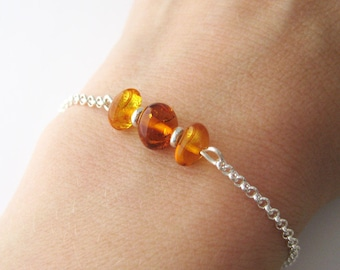 Bracelet real silver and Baltic Sea amber beads 925/1000