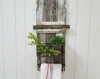 Barnwood Wall Art with Metal Basket Farmhouse