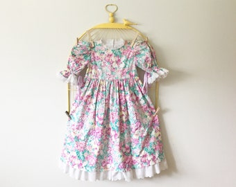 Vintage Spring Floral Tea Party Dress (Girls Size 7/8)