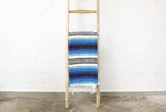 Vintage Falsa Blanket in Mexico made Sarape 180 x 130 cm different shades of blue bohemian living urban Jungalow style
