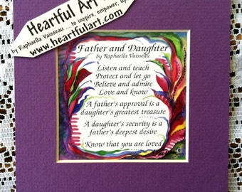 FATHER DAUGHTER Original POEM Inspirational Quote Dad Birthday Gift Family Child Sayings Print Wall Decor Heartful Art by Raphaella Vaisseau