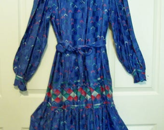 Francesca of Damon for Starington 1970's 100% Vintage Silk Dress ~ Long Sleeve ~ Button Chest ~ Ruffled Neck & Cuffs ~ Colorful Size 10