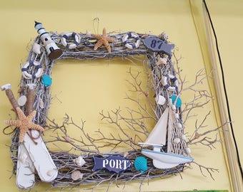 Beach wreath, grapevine, Nautical theme