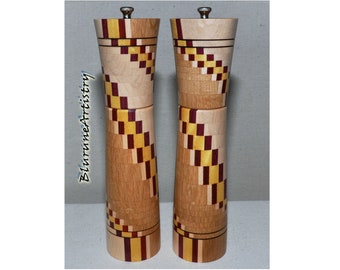 Deluxe Handcrafted Peppermill & Salt Grinder made from Segmented Woods - P84-85