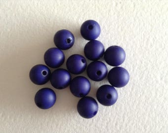 Round beads 10 mm Navy resin sold x 15 beads