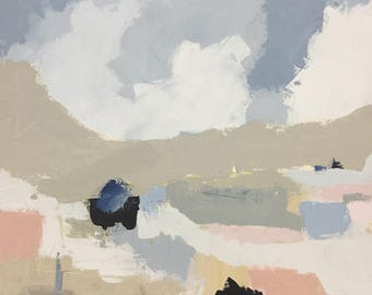 large abstract landscape painting abstract art pastel colors grey blue blush pink pamela munger