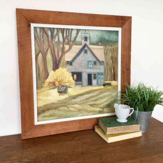 Farmhouse Painting - Rustic Wall Decoration - Barn Picture - Country Kitchen Decor - Vintage Room Decor - Original Painting on Canvas