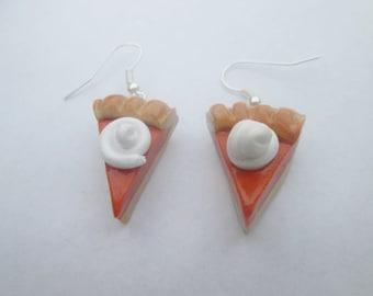 Trending Jewelry Pumpkin pie earrings, polymer clay, Christmas earrings, children's earrings, Christmas jewelry, miniature food, Christmas