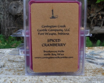 Spiced Cranberry 3 or 6  ounce Soy Breakaway Melt.