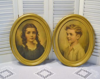 Vintage Oval Framed Prints Cynthia Richard Charles Bosseron Chambers Girl Boy Wall Decor PanchosPorch