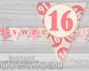 Sweet 16 printable banner, quinceanera, pink cream, birthday party decoration, sweet sixteen, girl 16th birthday, PDF file download