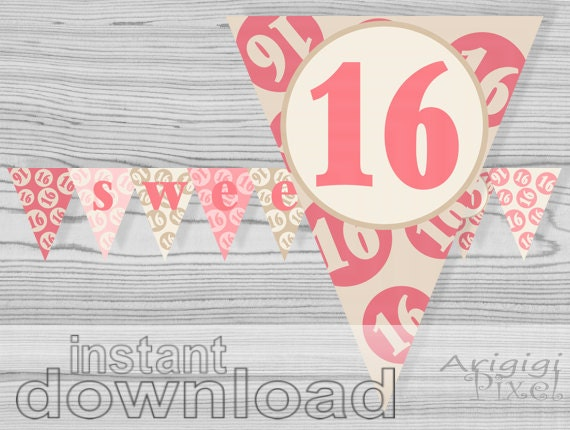 sweet 16 printable banner quinceanera pink cream birthday. Black Bedroom Furniture Sets. Home Design Ideas