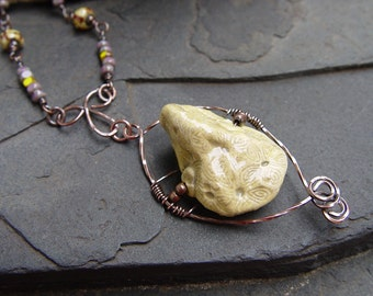 Bossy Bead - Stoneware Free Style Pendant, Tri-Cut Beads, Silk and Copper Necklace