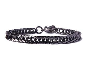 Gunmetal bracelet for men - Mens Jewelry - Modern gunmetal adjustable geometric bracelet - Gifts for him - Layering / Stacking bracelet