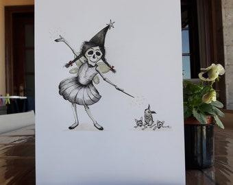 Original ink illustration of Scary fairy  - Inktober artwork