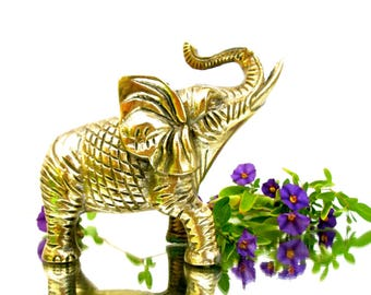 Vtg Solid Brass Elephant Figurine     Boho Chic Home Accent    Eclectic Nursery Decor