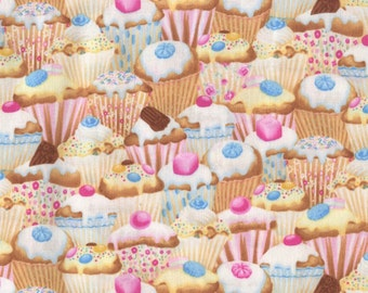 Cupcake Fabric, Pink Fabric, Food Fabric, Timeless Treasures, Sweet, Candy, 01176