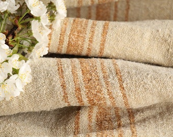 SP 64:  antique, handloomed, CARAMELL, wedding decor, holiday feeling, 2.62 yards , french lin, cushion, pillow, tablerunner