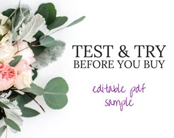 Test & Try Before You Buy, Sample Editable PDF File Template by Fresh and Yummy Paperie