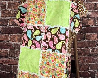Polka Dot Paisley Flannel Rag Quilt
