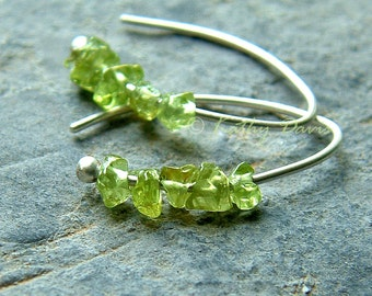 Small Silver Hoop Earrings Green Peridot Open Hoops Birthstone jewelry, womens gift, gift for her, raw stone Mothers Day gift, Mom gift