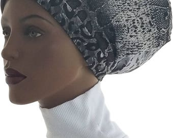 Reptile Mixed Print Huggee Locks Beanie™ Cap Hat Grey Black Dreads Hat Dreadlocks Jersey Knit Tube Dread Lock Cap  Dreadie Tube Hat Handmade