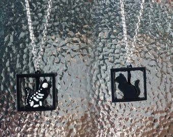 Spinning Schrodinger's Cat Necklace (It's alive and dead!)