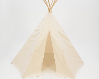 SALE!! Poles Included Teepee Play Tent natural canvas  - 6 panel
