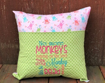 Monkey Book Pillow - Monkies - Book Pocket Pillow - Gift for Readers - Christmas Gift - Reading Lover - Gift for Girls - Young Reader