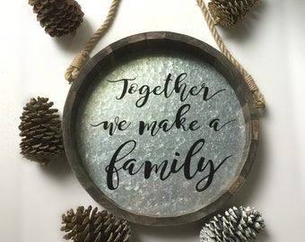Wooden Rustic/Farmhouse wall decor. Family quote with rope hanger
